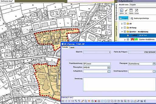 Screenshot Geoinformationssystem GIS